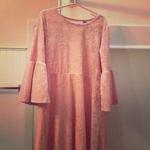Pink crushed velvet girl's dress